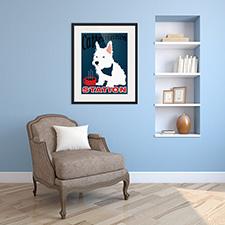 caffeine dog framed print