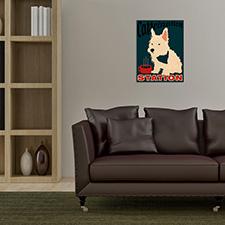 caffeine dog wooden poster